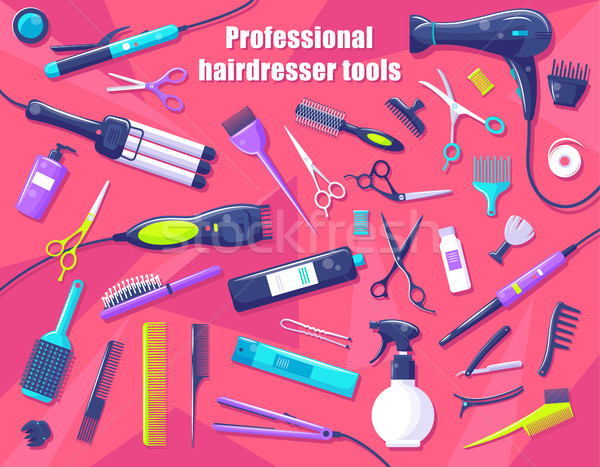 Professional Hairdresser Tools Isolated on Pink Stock photo © robuart