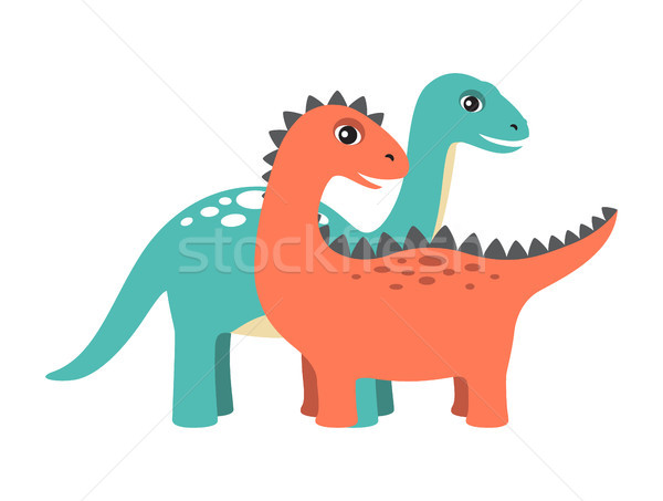 Diplodocus and Dinosaur Set Vector Illustration Stock photo © robuart