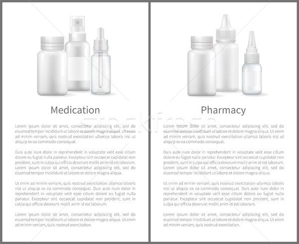 Medication Pharmacy Poster Nasal Spray and Bottles Stock photo © robuart