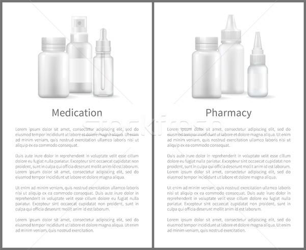 Ilaç eczane poster sprey şişeler kapsül Stok fotoğraf © robuart