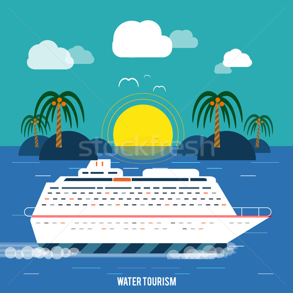 Cruiseschip Blauw water toerisme iconen Stockfoto © robuart