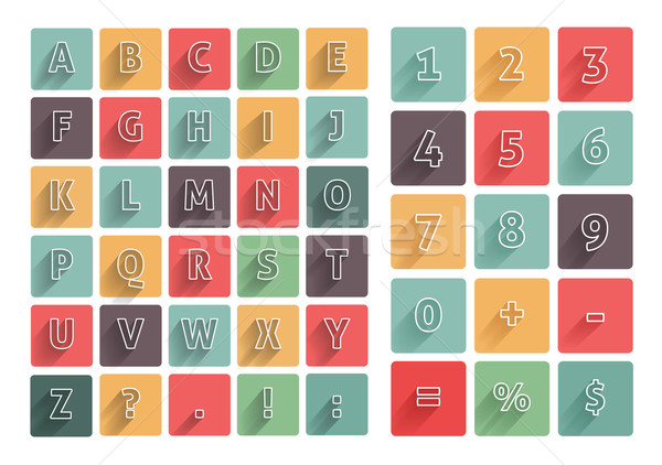 Flat alphabet A-Z icons set with long shadow Stock photo © robuart