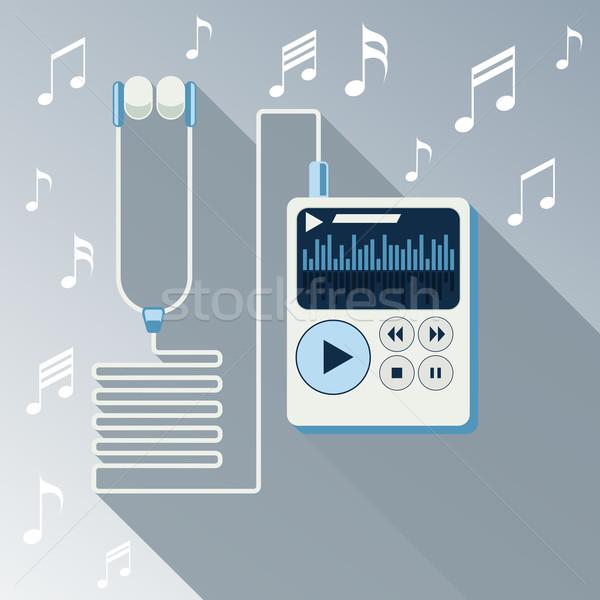 Stockfoto: Spelen · muziek · mp3-speler · witte · lang · schaduw
