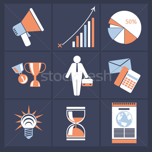 Office and business icons in gray buttons version Stock photo © robuart