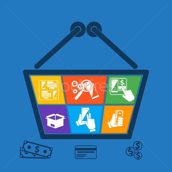 Foto stock: Carrinho · de · compras · ícones · on-line · ecommerce · compras