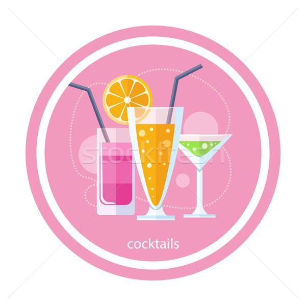 Szett koktélok koktél ital gyümölcslé terv Stock fotó © robuart