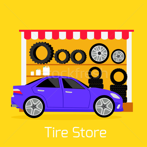 Tire Store Automobile Flat Concept Stock photo © robuart