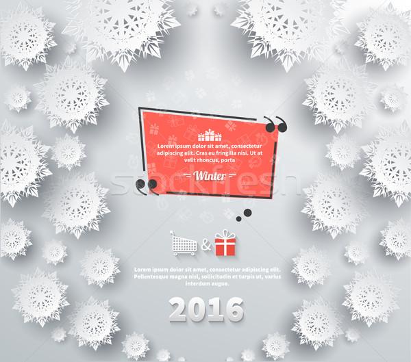 Snowflakes Background 2016 Quote Bubble Stock photo © robuart