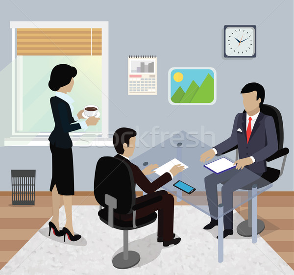 Isometric Business Meeting in Office Flat Design Stock photo © robuart