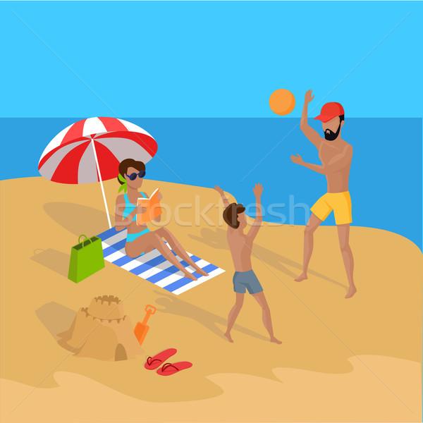 Nyári vakáció trópusi tengerpart illusztráció vektor terv szabadidő Stock fotó © robuart