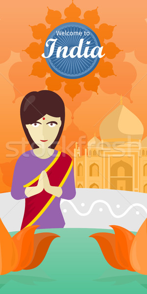 Welcome to India. Indian Woman Opposite Temple. Stock photo © robuart