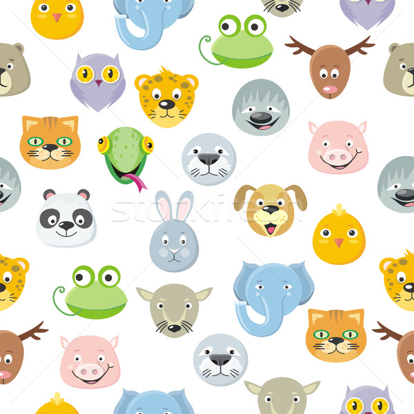Seamless Pattern Animal Faces Set. Cartoon Masks Stock photo © robuart