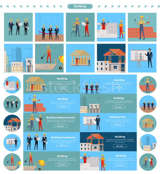 Set of Building Concepts and Web Banners Vectors. Stock photo © robuart