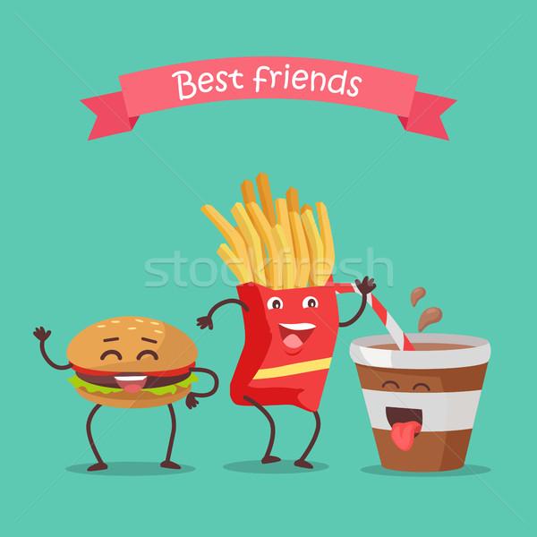 Лучшие друзья фри соды танцы гамбургер смешные Сток-фото © robuart