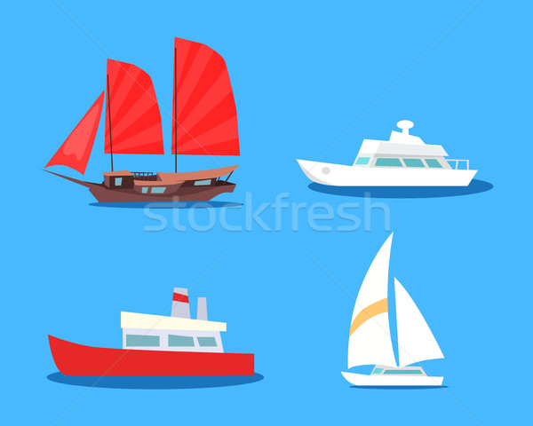 Set of  Sailing And Motor Vessels Vector Icons  Stock photo © robuart