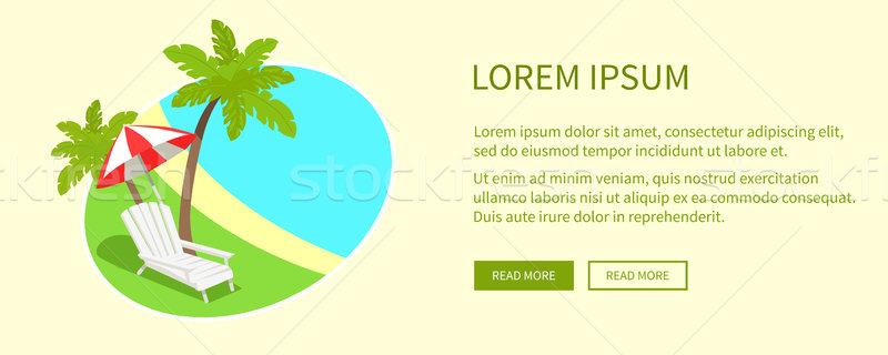 Tropisch eiland tag geïsoleerd tekst groene palmen Stockfoto © robuart