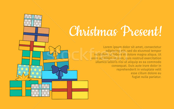 Stock photo: Big Pile of Colorful Wrapped Gift Boxes Web Banner