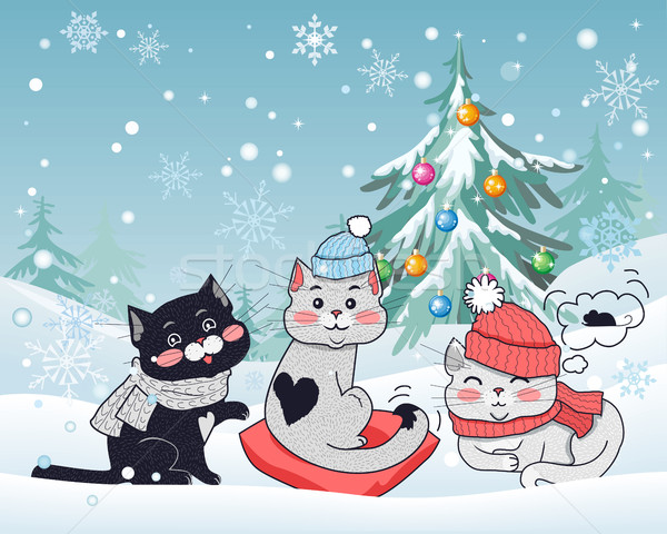 Happy Winter Friends. Three Little Cats. Vector Stock photo © robuart