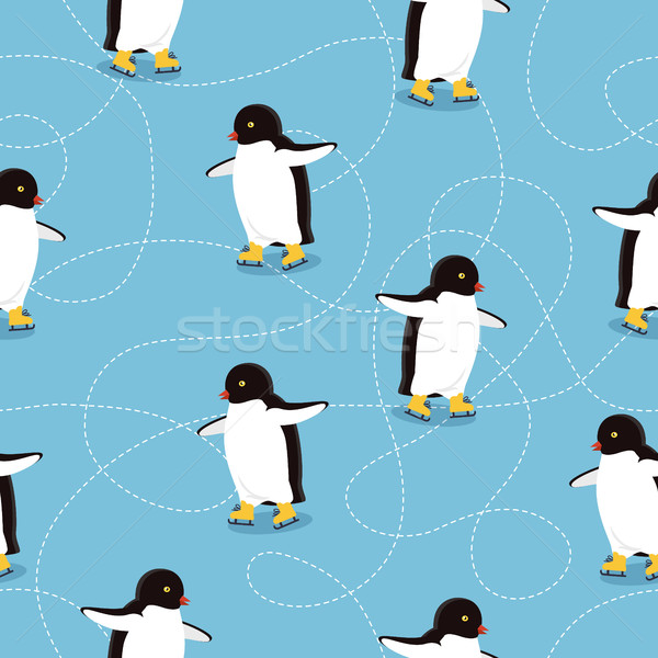Penguins on Ice-skates Seamless Pattern Vector Stock photo © robuart