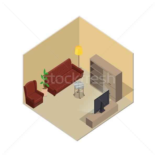 Daire örnek izometrik projeksiyon oda iç Stok fotoğraf © robuart