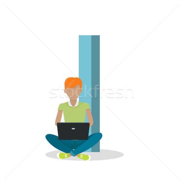 Mektup erkek oturma dizüstü bilgisayar vektör yalıtılmış Stok fotoğraf © robuart