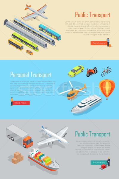 Public personal transport vector bannere set Imagine de stoc © robuart