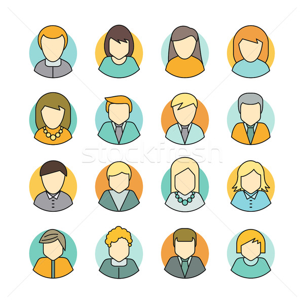 Set of People Characters Avatars in Flat Design Stock photo © robuart