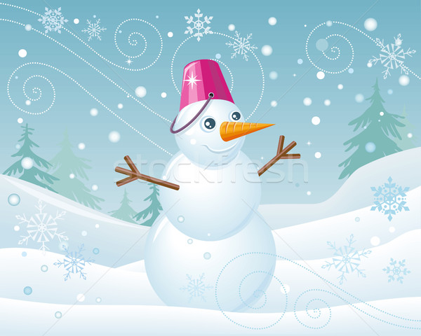 Snowman in Pink Bucket on Christmas Landscape Stock photo © robuart