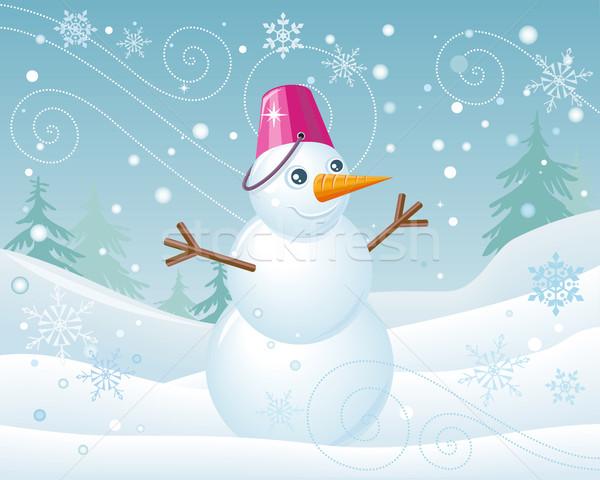 Muñeco de nieve rosa cubo Navidad paisaje aislado Foto stock © robuart
