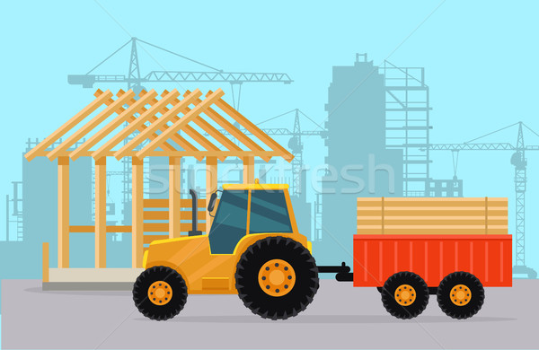 Tractor. Construction. Process of Building House. Stock photo © robuart
