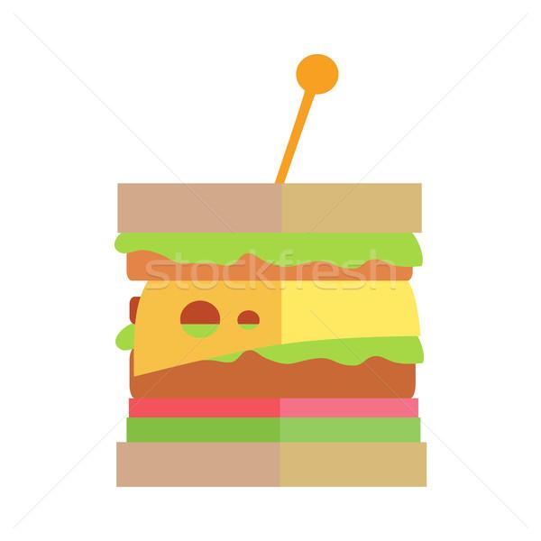 Foto stock: Fast-food · cheeseburger · vetor · projeto · clássico · sanduíche