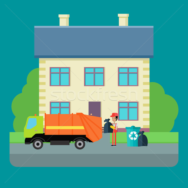 Cleaning Garbage From the City Streets Vector. Stock photo © robuart
