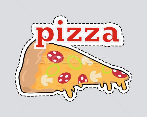 Kivágás olasz falatozó sajt paradicsomok pizza szelet Stock fotó © robuart