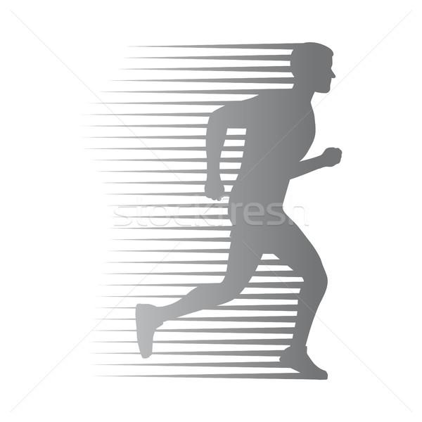 Silueta aislado hombre ejecutar movimiento líneas Foto stock © robuart