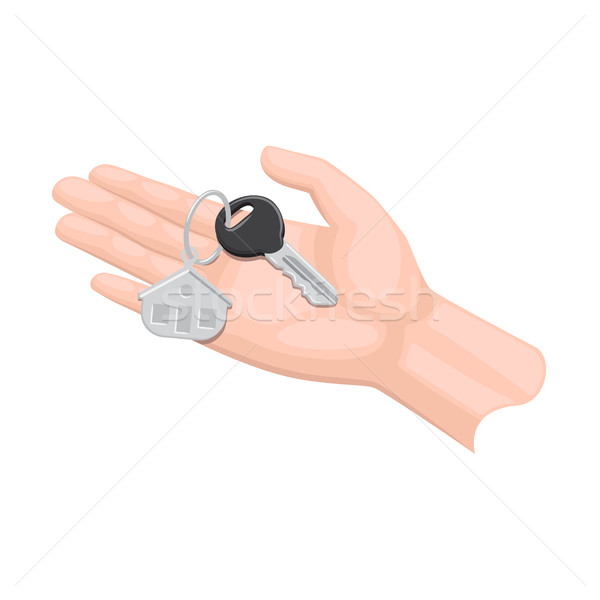 Cartoon Arm Gives House Key Isolated Illustration Stock photo © robuart