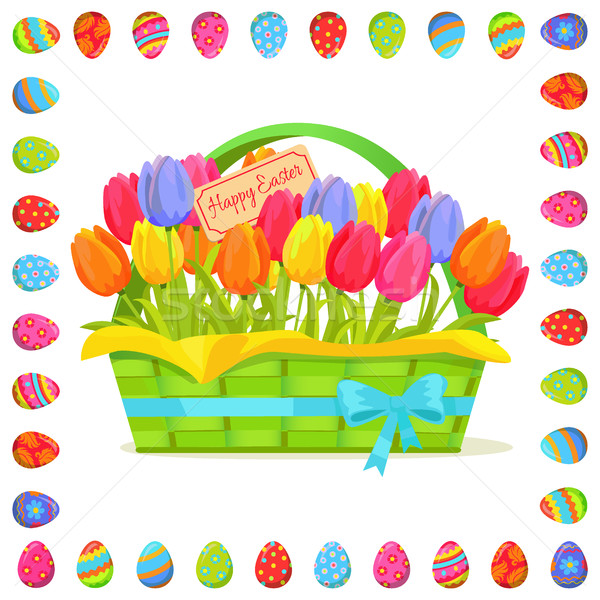 Happy Easter Note In Tulips Bouquet Illustration Stock photo © robuart