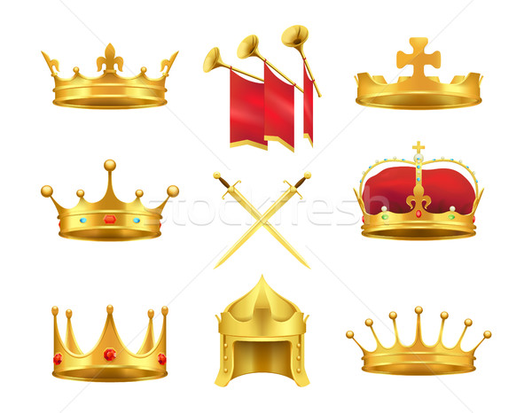 Golden Ancient Crowns and Swords Set on White Stock photo © robuart