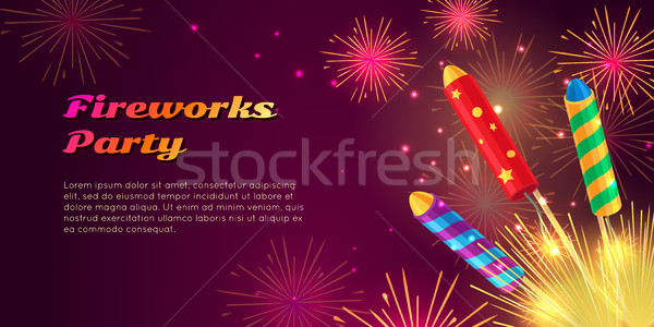 Colourful Exploding Rockets on Bright Background Stock photo © robuart