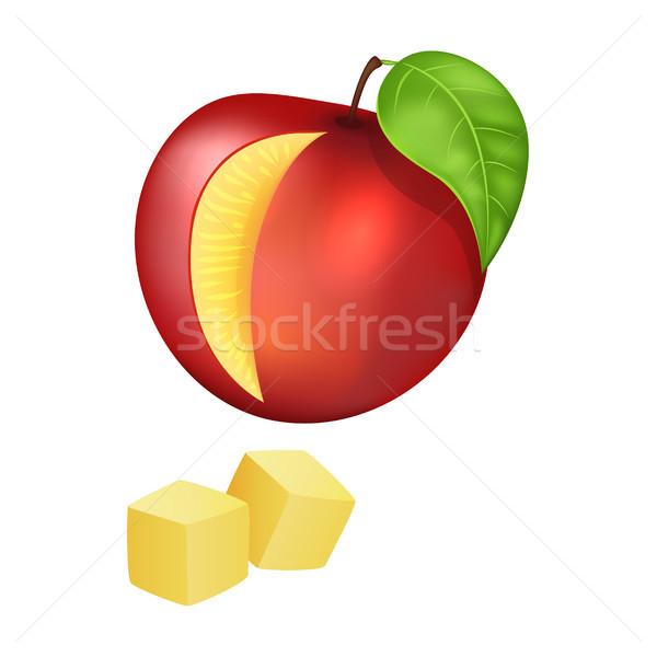 персика красный зрелый тропические фрукты лист Сток-фото © robuart