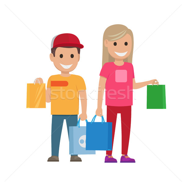 Girl and Boy with Bags Illustration. Shopping Set Stock photo © robuart