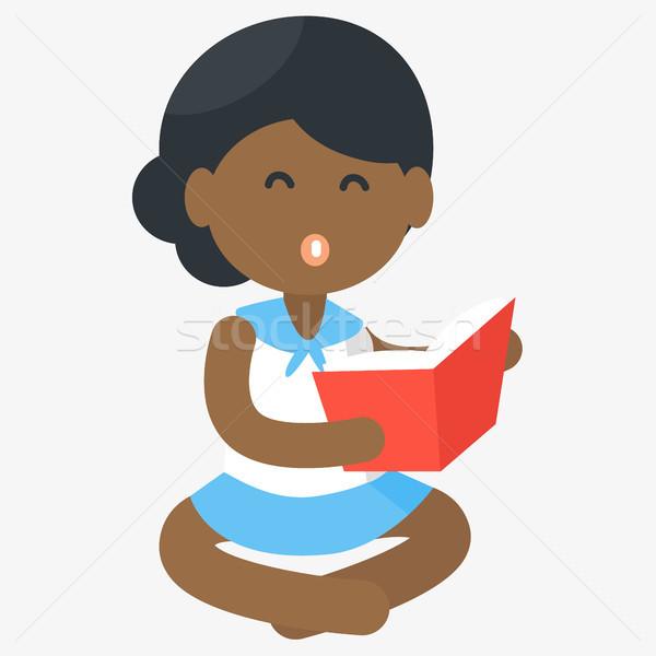 幸せ アフリカ 少女 読む 開いた本 ベクトル ストックフォト © robuart