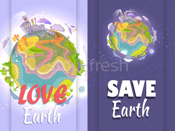 Poster insanlar durdurmak gezegen dünya gezegeni insan Stok fotoğraf © robuart