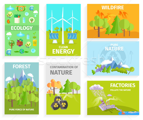 Set of Banners Dipicting Environmental Issues Stock photo © robuart