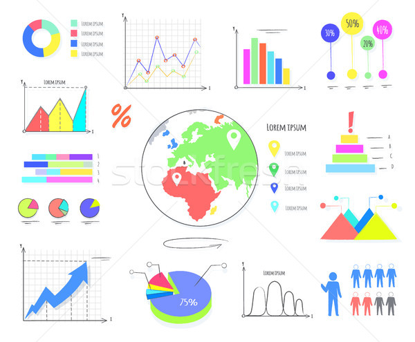 Colorful Graphics and Charts Illustrations Set Stock photo © robuart