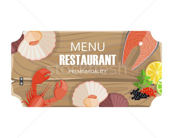 Restaurante menú mariscos prima calidad vector Foto stock © robuart