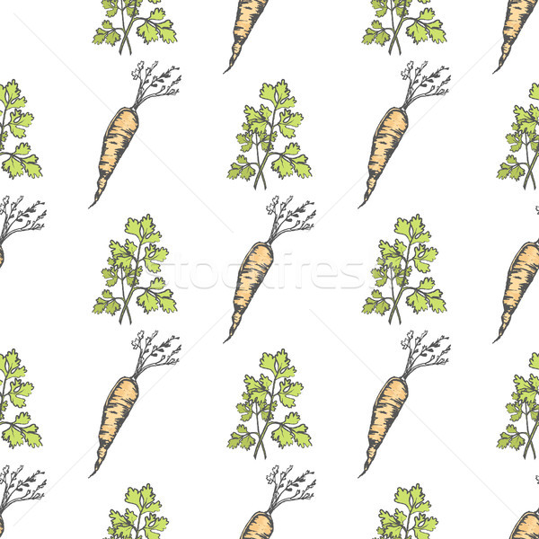 Healthy Carrot and Parsley Sprig Seamless Pattern Stock photo © robuart