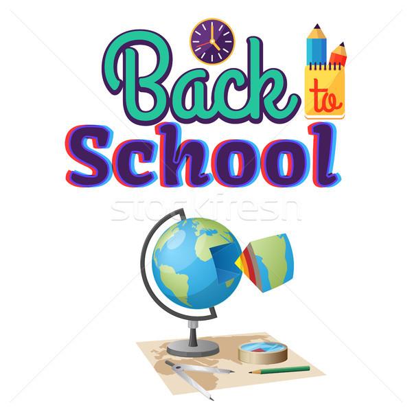 Powrót do szkoły geografia naklejki odizolowany biały świecie Zdjęcia stock © robuart