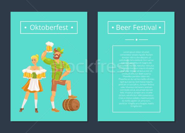 Oktoberfest conjunto pôsteres homem mulher barbudo Foto stock © robuart