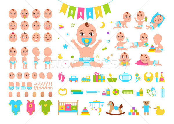 Baby Constructor Icons on Vector Illustration Stock photo © robuart