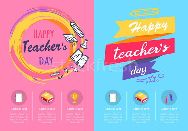 Two Posters Teachers Day on Vector Illustration Stock photo © robuart
